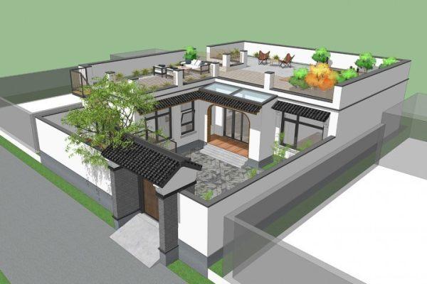 占地13x15一层带庭院天台自建别墅设计全套施工图