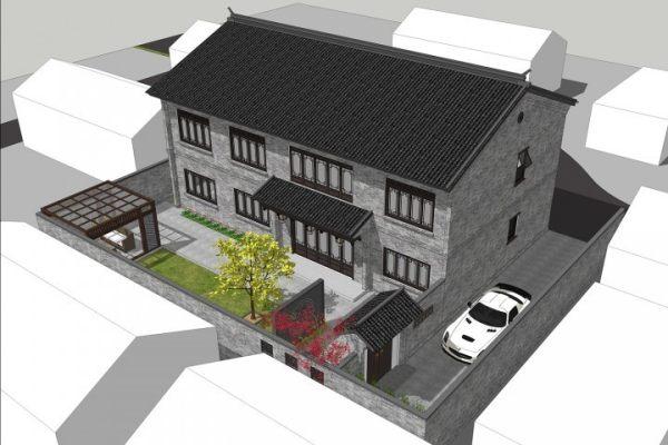 占地17x10二层带庭院自建别墅设计全套施工图