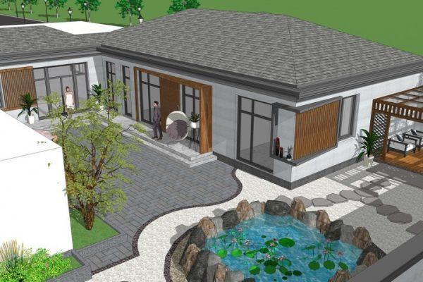占地18x17一层带庭院自建别墅设计全套施工图