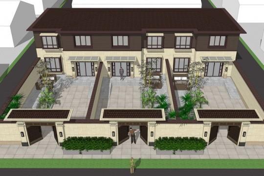 占地26x10二层带庭院三拼自建别墅设计全套施工图