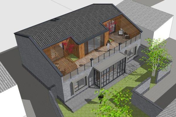 占地13x10一层带庭院自建别墅设计全套施工图