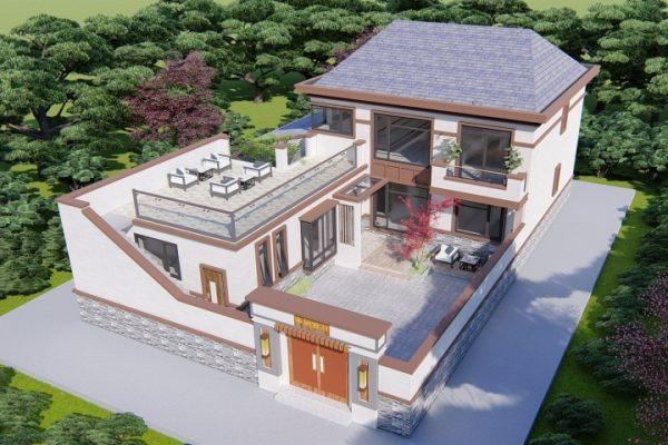占地13x10二层带庭院和天台自建别墅图纸,造型亮眼,建一栋面子十足!