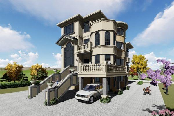 占地11x16四层架空带露台自建别墅设计全套施工图
