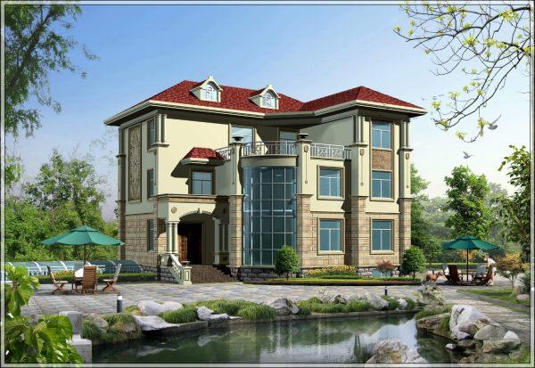 占地15x14三层带露台自建别墅设计全套施工图