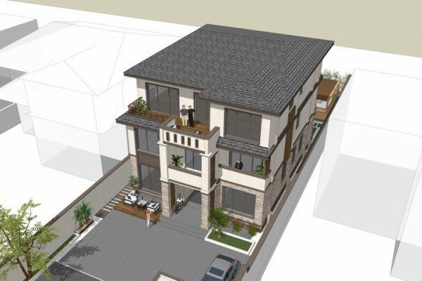 占地12x20三层带庭院露台自建别墅设计全套施工图