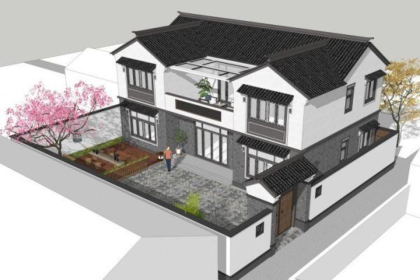 占地15x9二层带庭院自建别墅设计全套施工图