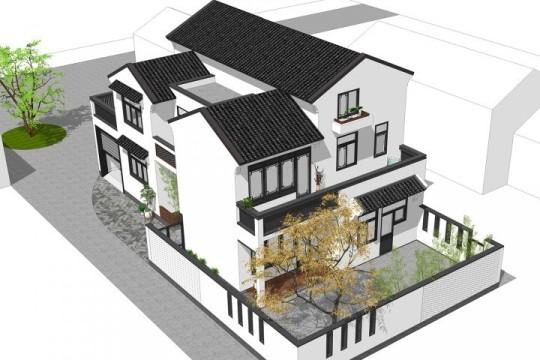 占地16x9三层带庭院阁楼自建别墅设计全套施工图