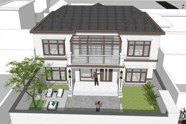 占地14x12二层带庭院自建别墅设计全套施工图