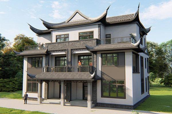 占地19x16三层双拼带露台自建别墅设计全套施工图