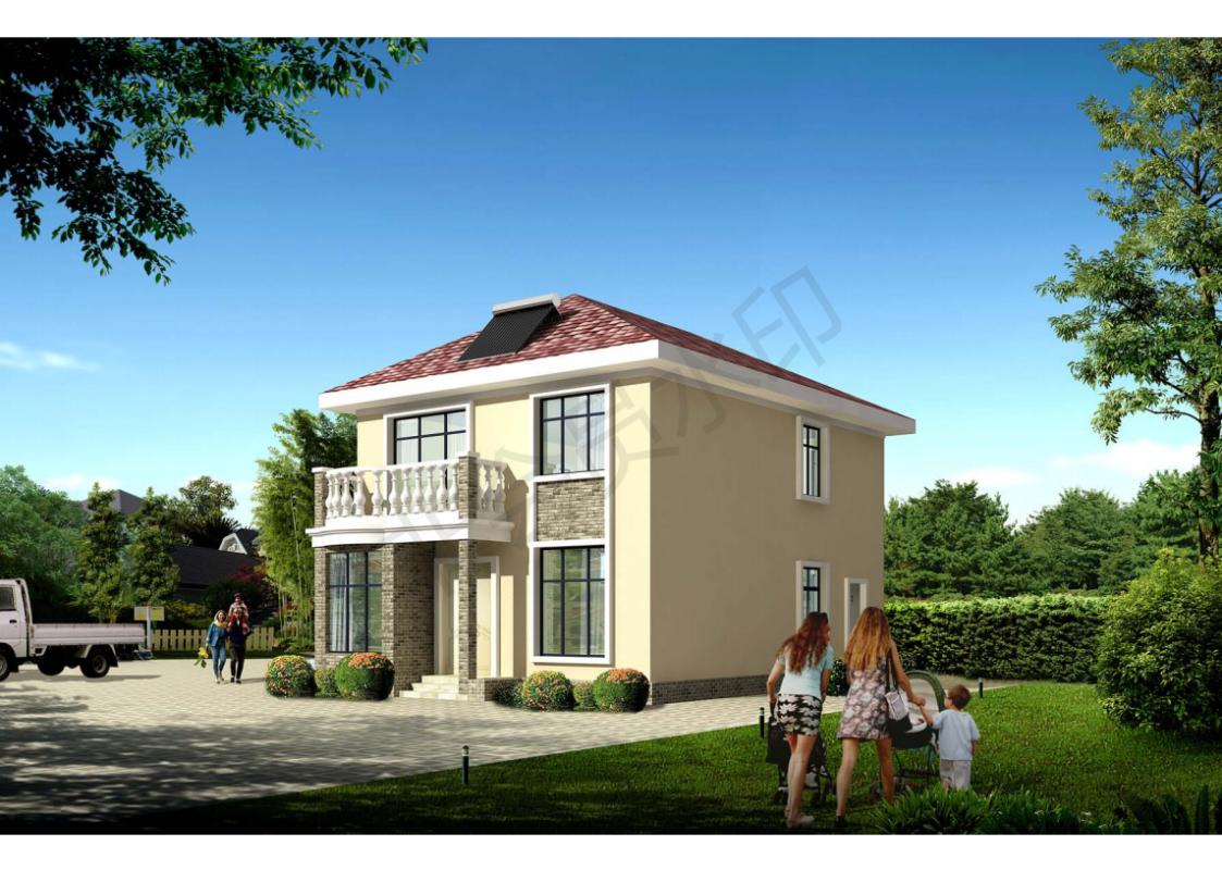 占地8x12二层独栋带露台自建别墅设计全套施工图
