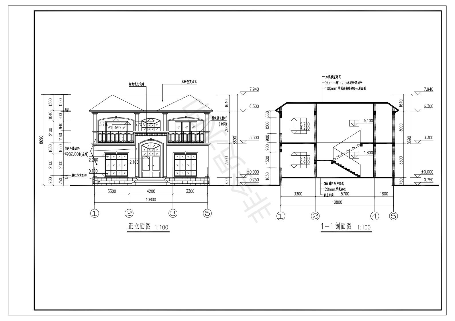 现代二层别墅设计图施工图