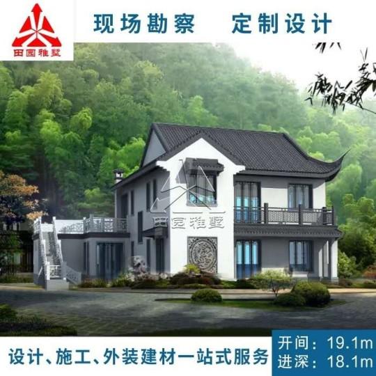 占地19x18二層中式風格自建別墅設計全套施工圖