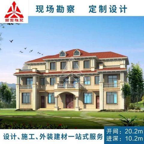 占地20x10三层带露台自建别墅设计全套施工图