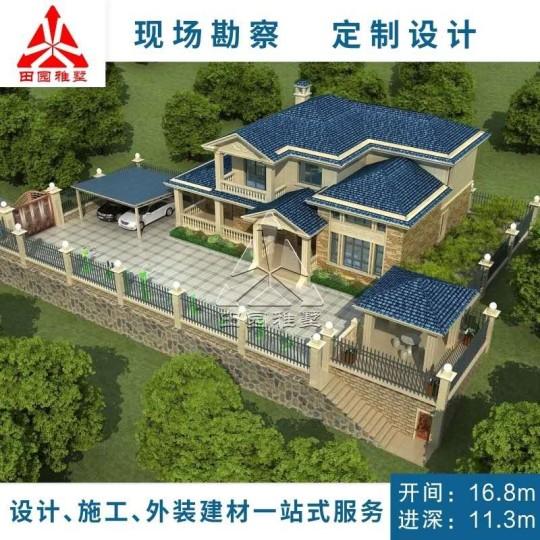 占地17x11二层带庭院自建别墅设计全套施工图