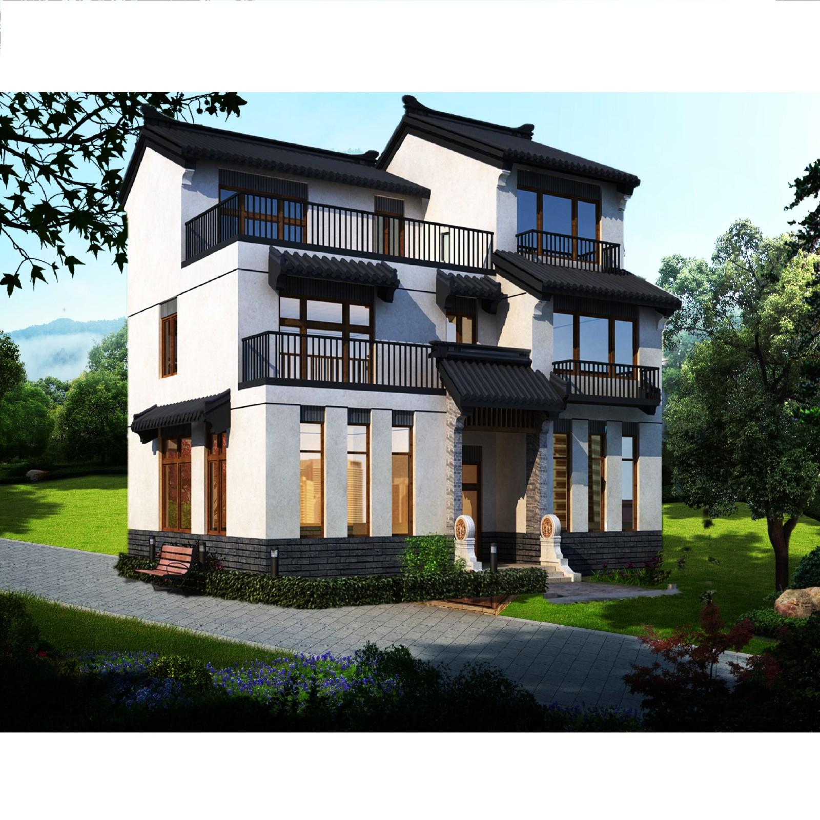 中式三層別墅設計圖效果圖