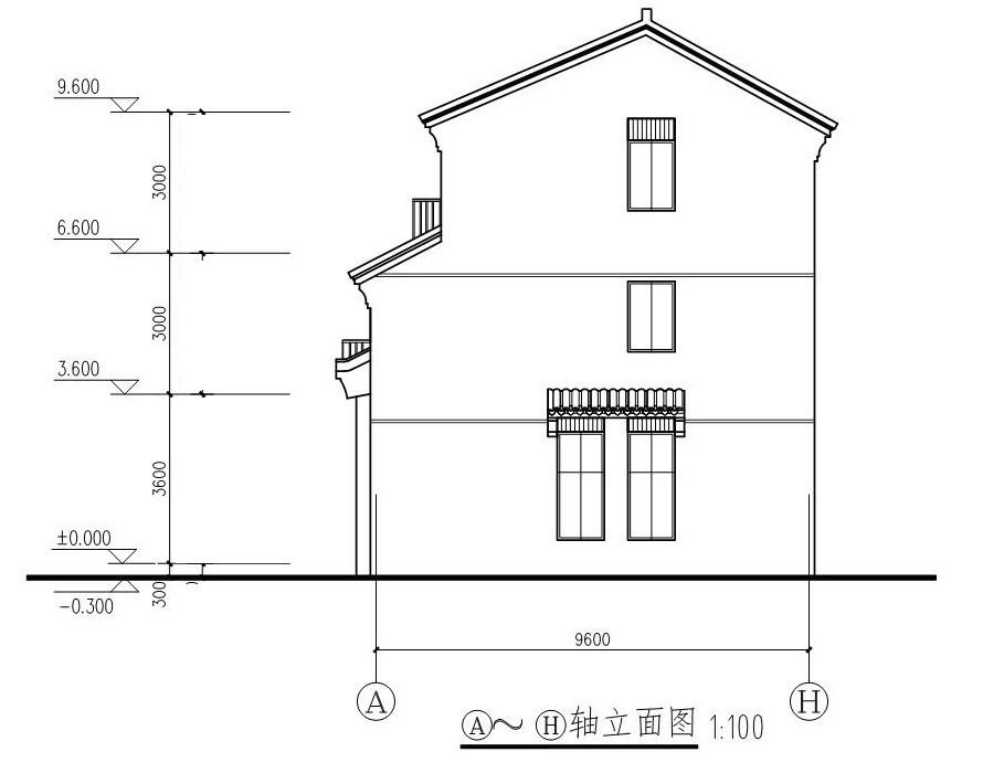 中式三層別墅設計圖施工圖