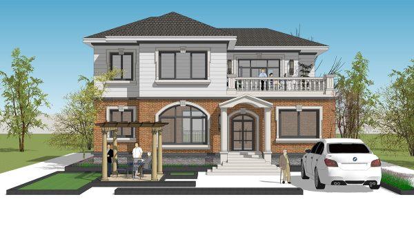 占地15x13二层带露台自建别墅设计全套施工图