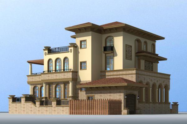 【四层】多露台自建别墅设计建筑施工图