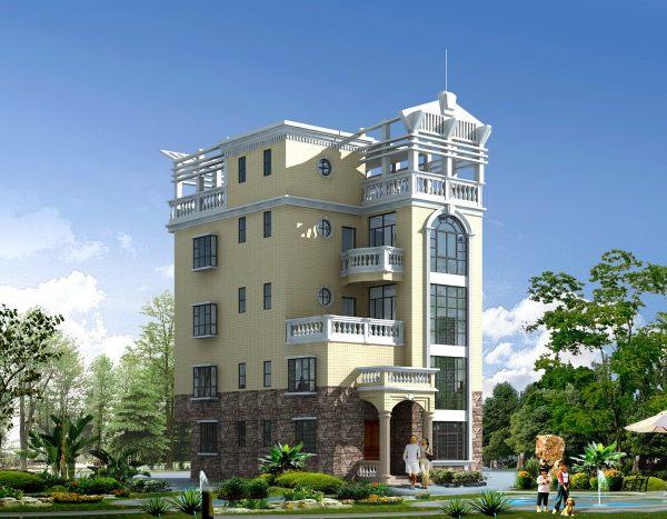 占地9x11四层豪华独栋自建别墅设计全套施工图