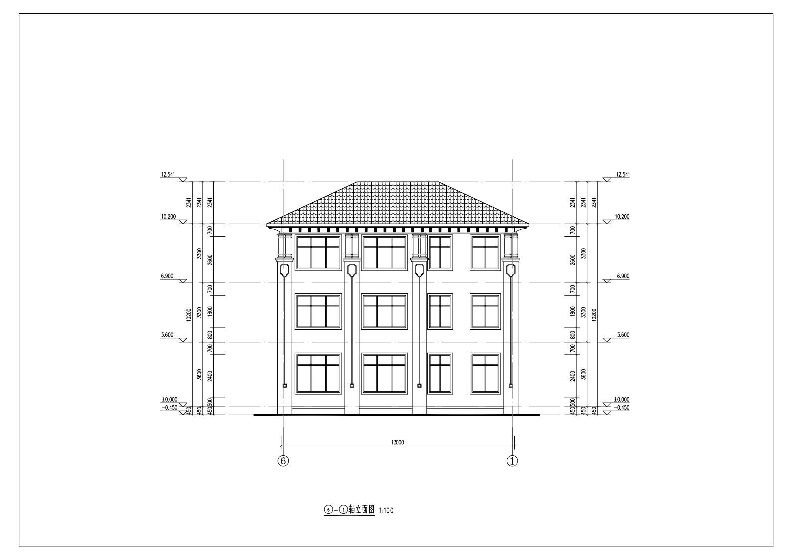 欧式三层别墅设计图施工图