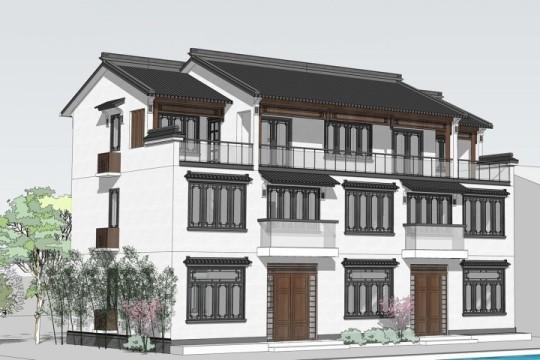 占地18x9三层中式自建别墅设计全套施工图