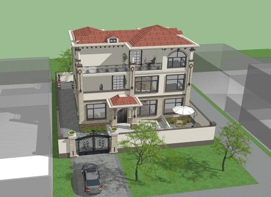 占地14x14三层带露台自建别墅设计全套施工图