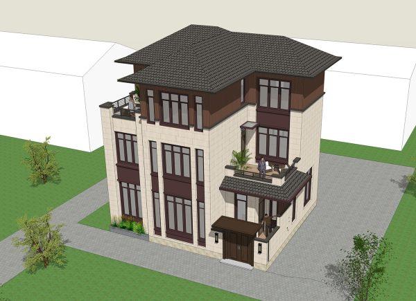 占地12x10三层带露台自建别墅设计全套施工图