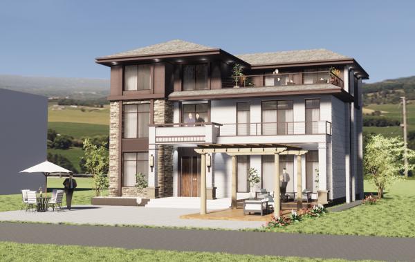 占地17x14三层带露台自建别墅设计全套施工图