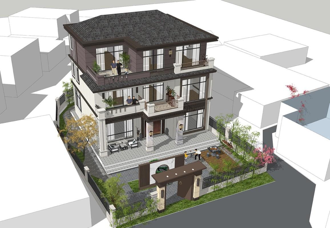 占地12x11三层带露台自建别墅设计全套施工图
