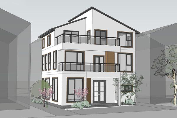 占地9x9三层带露台自建别墅设计全套施工图