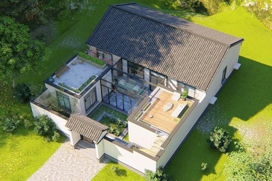 占地14x18一层带庭院自建别墅设计全套施工图