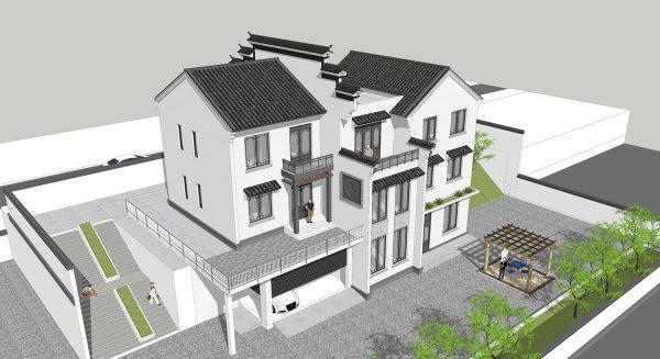 占地19x13三层带露台自建别墅设计全套施工图