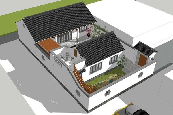 占地13x22一层带庭院自建别墅设计全套施工图