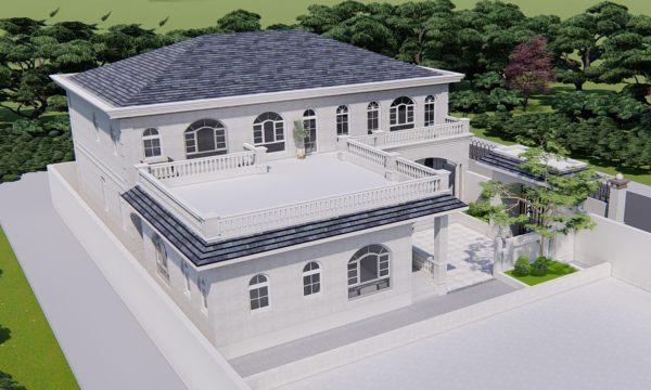 占地18x21二层带露台自建别墅设计全套施工图