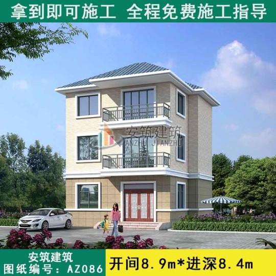占地8x9三层独栋自建别墅设计全套施工图