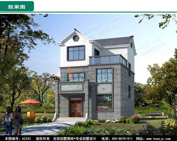 中式三层别墅设计图效果图