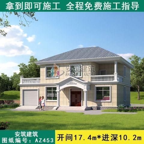 占地17x10二层带车库自建别墅设计全套施工图