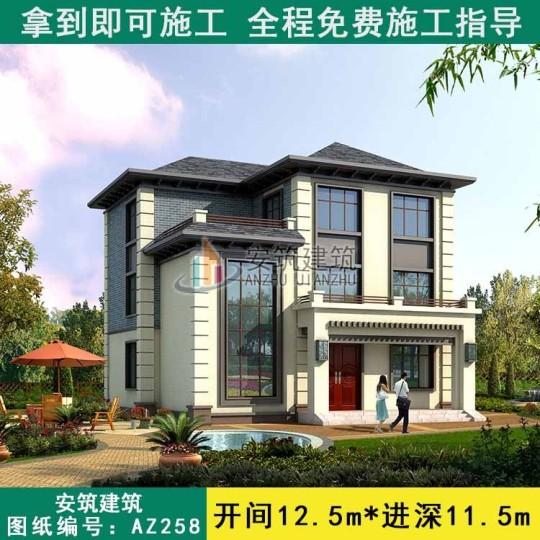 【中式爆款】占地12x11新中式三层楼房设计图