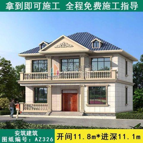 【二层爆款】占地12x11新农村漂亮的二层楼房图