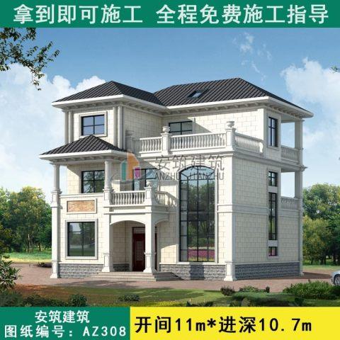 【三层经典】11x10欧式独栋复式客厅小别墅设计