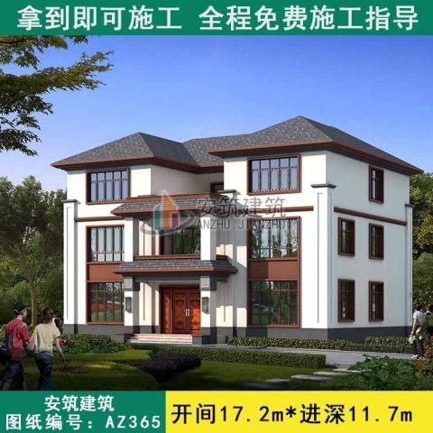 占地17x12三层双拼自建别墅设计全套施工图
