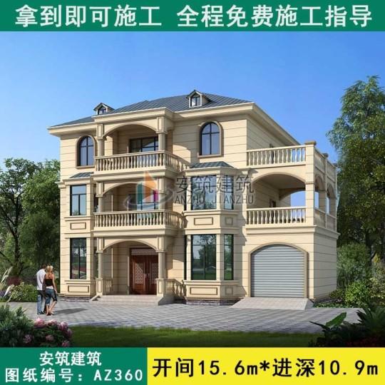 占地16x11三层带车库自建别墅设计全套施工图