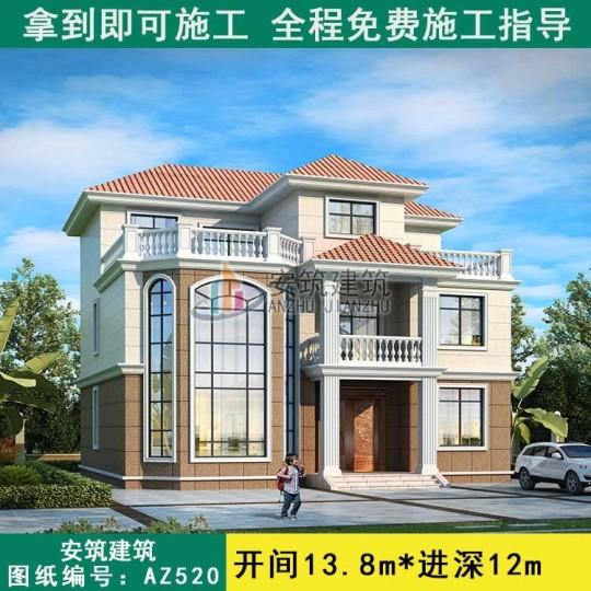 农村三层房屋设计图,乡村复式别墅自建房图纸