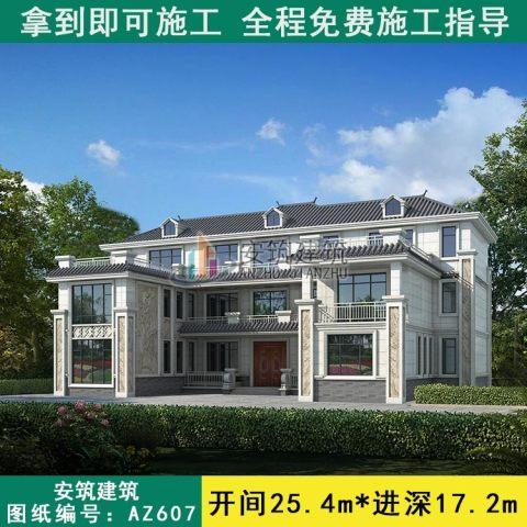 新中式别墅图片大全外景三层豪华别墅设计图纸