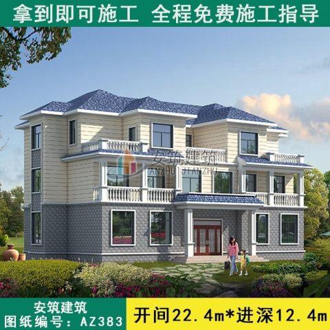 占地19x12三层双拼带露台自建别墅设计全套施工图