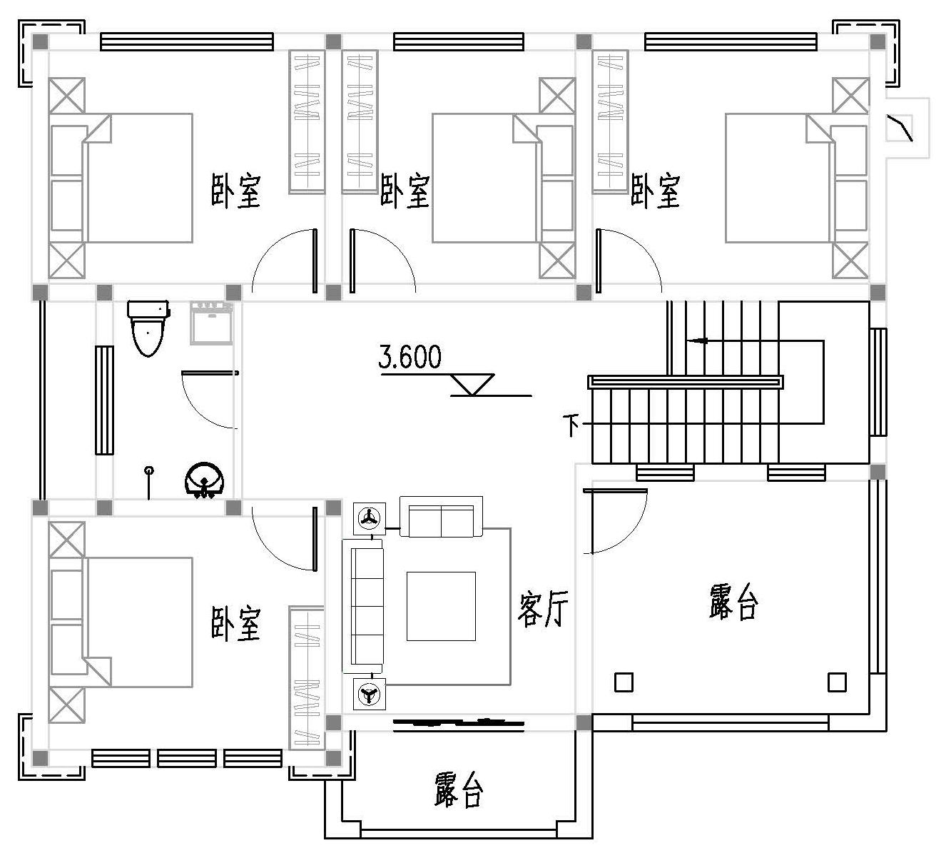 中式二層別墅設計圖平面圖