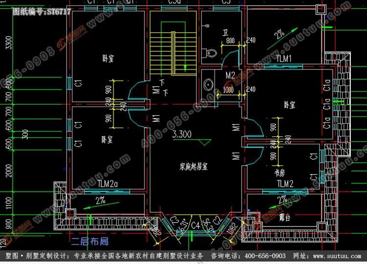 美式二層別墅設計圖施工圖