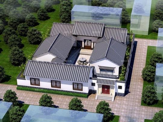 占地23x27.6一层四合院自建别墅设计全套施工图