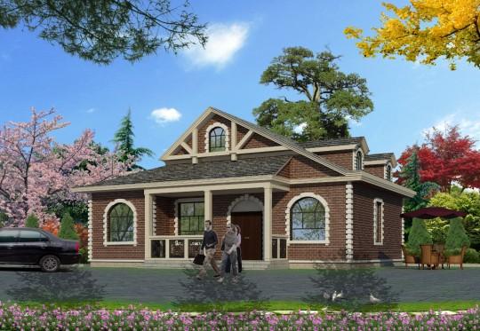 占地14x11一层带阁楼自建别墅设计全套施工图