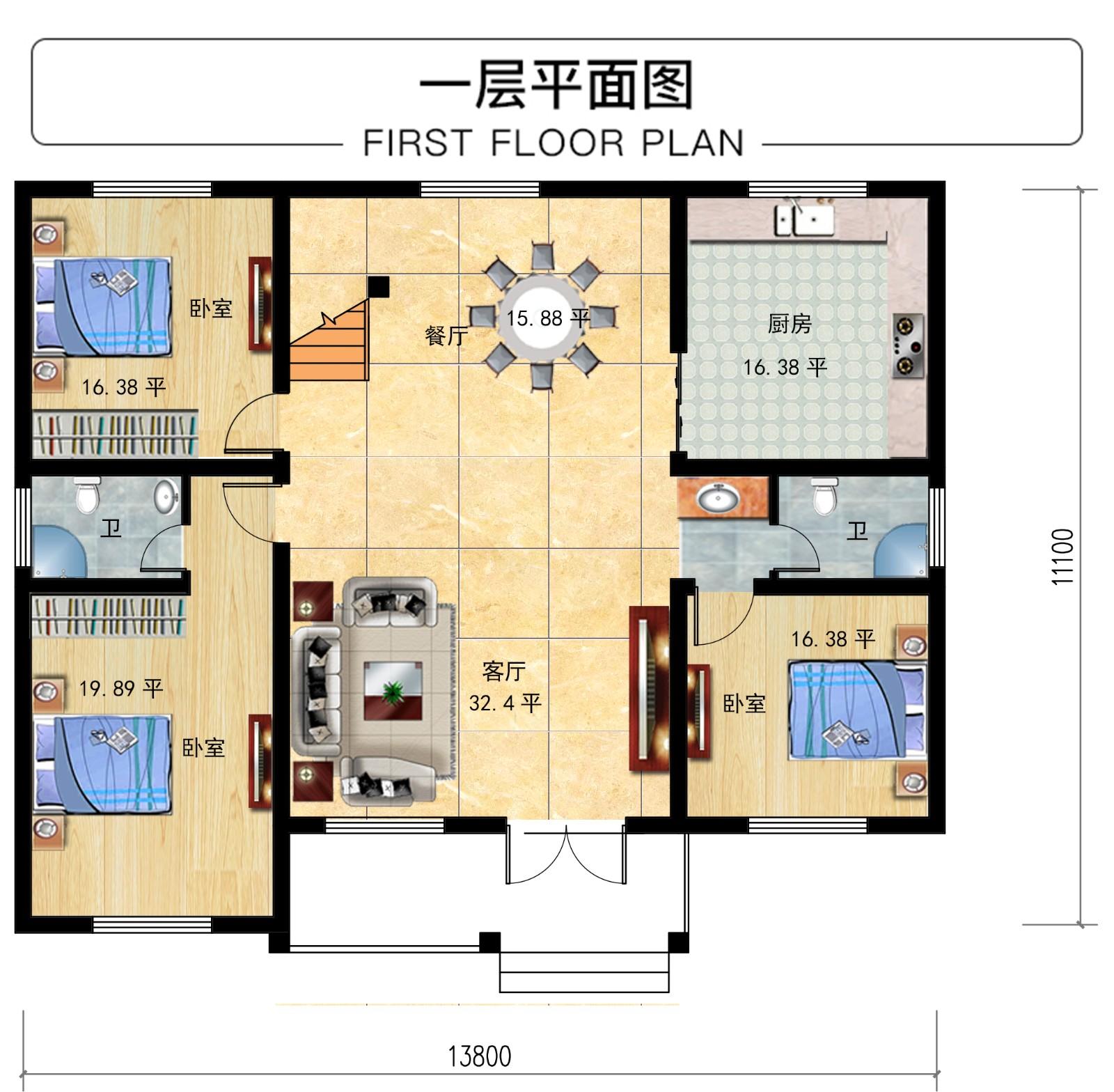 欧式一层别墅设计图平面图